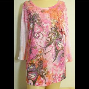 Pink butterfly shirt rhinestones lace sleeves NWT